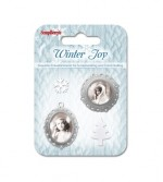 Set of metal embellishments with epoxy Winter Joy 2