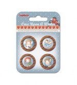 Set of wooden button Once Upon a Winter, 4 pcs