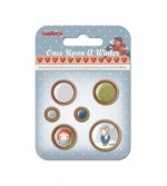 Set of wooden button Once Upon a Winter, 6 pcs