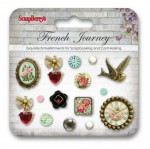 Set of decorative brads French Journey