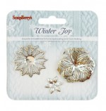 Set of metal flowers Winter Joy, 3pcs