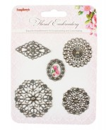 Set of decorative elements Floral Embroidery