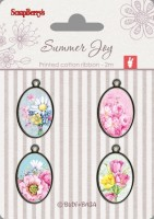 Set of metal elements with epoxy stickers Summer Joy 2, 4 pcs