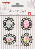 Set of metal elements with epoxy stickers Summer Joy 3, 4 pcs