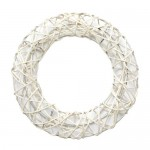 Rattan wreath 25cm, white