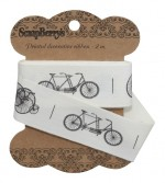 Ribbon Retro Bycicles 25mm, 2m, cotton