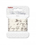 Printed ribbon, Wedding, 25mm, 2m, cotton