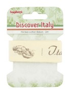 Printed cotton ribbon Discover Italy, Italian menu, 25mm, 2m