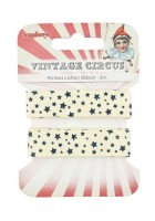 Printed cotton ribbon Circus stars, 15mm, 2m