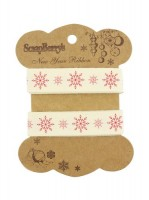 Printed decorative ribbon Snowflakes, cotton, 15mm, 2 m