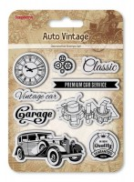 Set of Clear Stamps (10,5*10,5cm) Auto Vintage - Garage