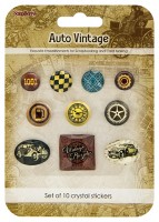 Crystal stickers decoration. Auto Vintage Set of 10 crystal stickers
