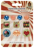 Crystal stickers decoration. Vintage Circus Set of 10 crystal stickers